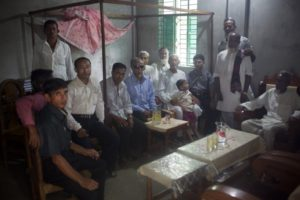 The meeting of male relatives of both families in the groom's house