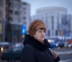 Ludmila, ready to get her Visa. Ukraine, Kiev, December 2009