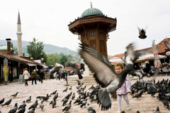"""Baščaršija is the ancient turkish district of Sarajevo's downtown, whose square is commonly called """"Pigeons Square"""". This is the beating heart of the touristic renaissance in the Bosnian capital. Sarajevo, Bosnia and Herzegovina,18/05/2012"""