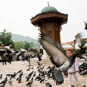 "Baščaršija is the ancient turkish district of Sarajevo's downtown, whose square is commonly called ""Pigeons Square"". This is the beating heart of the touristic renaissance in the Bosnian capital. Sarajevo, Bosnia and Herzegovina,18/05/2012"