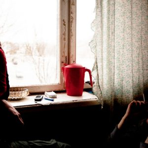 Estonia - Narva - March 2011. Irina and Sergej are sitting in their kitchen and talking about their life