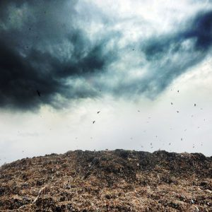 Ghazipur Landfill Site, Delhi, India - August, 2012 - the landfill on an overcast afternoon