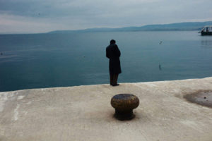 A man waits for the ferry near Galipoli, Turkey 2011