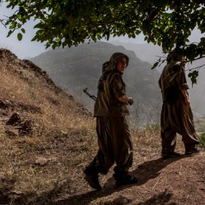 QANDIL, Kurdistan, 2013: Two female PJAK guerrillas walking trough the Qandil mountain