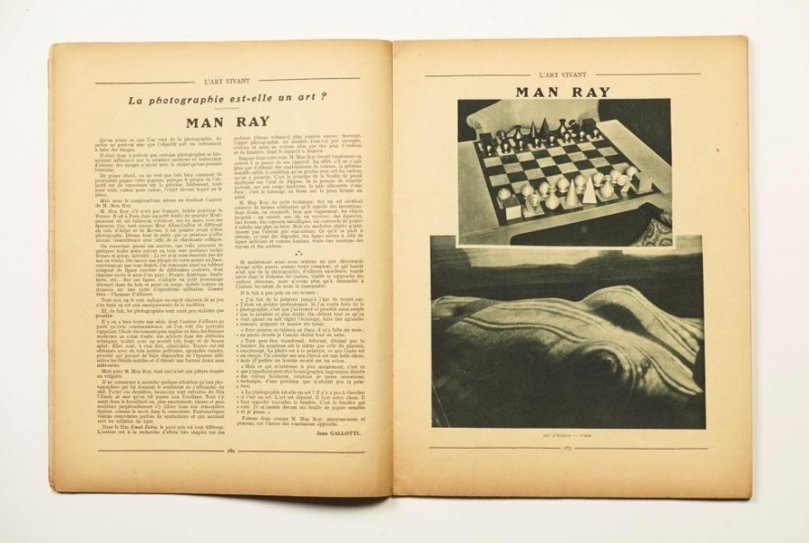 Man Ray Jean Gallotti, La photographie est-elle un art? – Man Ray L'Art Vivant, Vol. 5, Nr. 103, April 1929, S. 282–283 ©  Man Ray Trust, Paris
