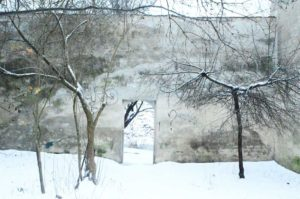 Vilnius, Lithuania - December 2014. A backyard of Uzupis District.
