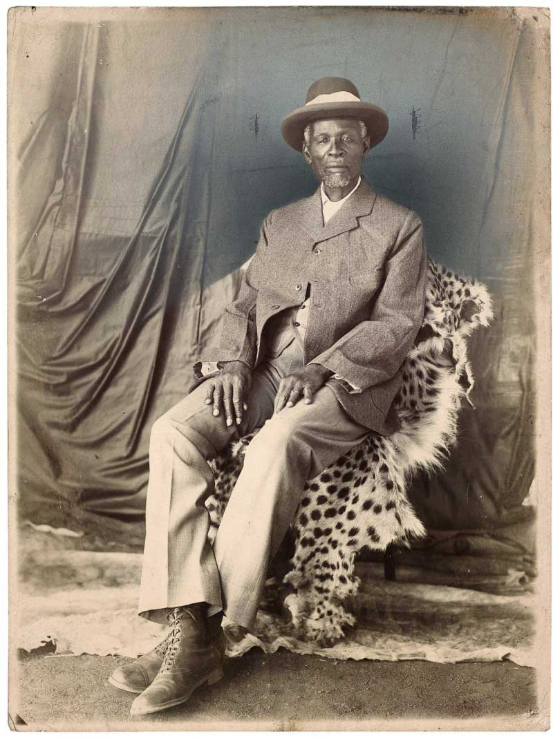 Unidentified Photographer, Studio portrait of King Khama III. South Africa, earliy twentieth century.