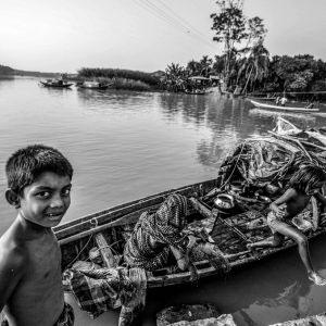 Bhola,Bangladesh,November 2015.A Bede family living on a boat at Bhola in Bangladesh.