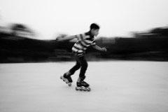 Dhaka , Bangladesh - January 2016 . A boy skating in the park .