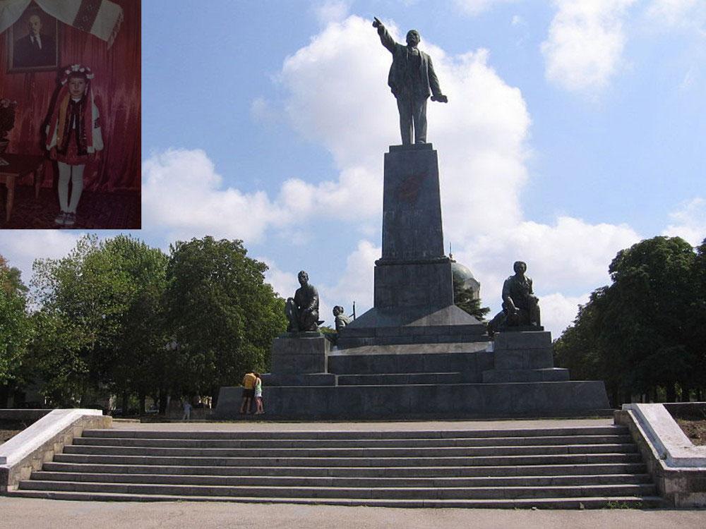 Kosiv, Ukraine - February 2016. Title: The Monument to Lenin