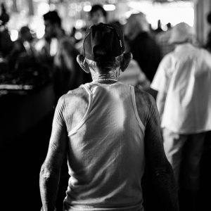 Havana, Cuba - December 2015.  A man goes shopping in a local produce market.