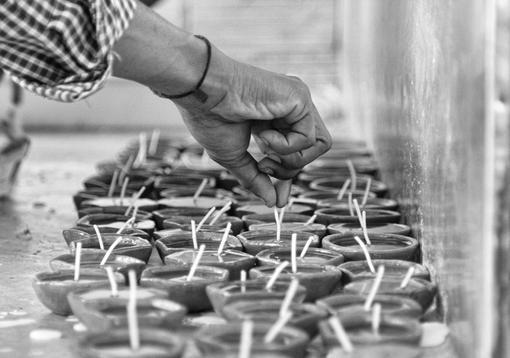Jamshedpur, India- April 2016.candle making 2nd step