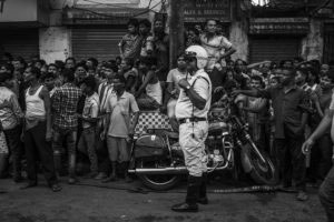 Kolkata, India- 31st March, 2016 . People gathered in the footpath to realise the enormity of the devastation.