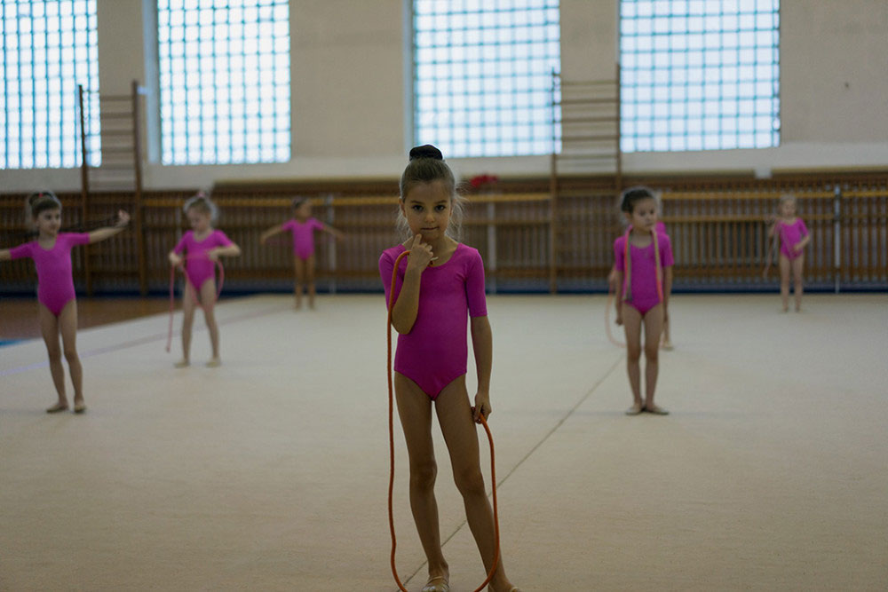 CHELYABINSK, RUSSIA- FEBRUARY 2015. Young gymnast during training session