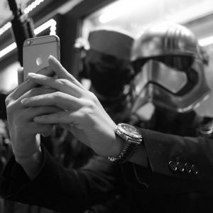 TOKYO, JAPAN - October 2015. Party goer dressed as Star Wars' character takes selfie.