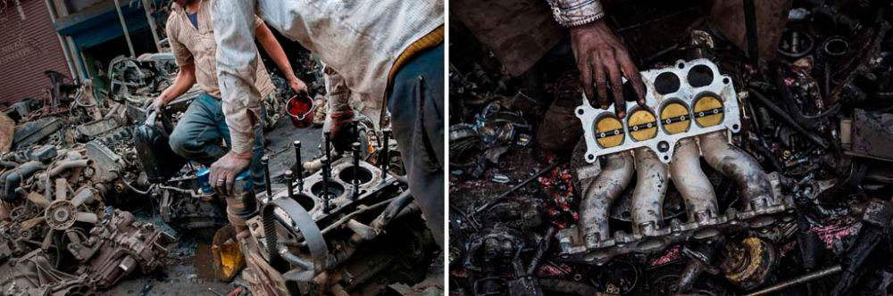 Image on Left - New Delhi, India: Vehicle engines being repaired for reselling at Mayapuri Scrap market. 1st December, 2015. Image on Right - New Delhi, India: Innards of an engine undergoing examination in the hands of a mechanic. 2nd February, 2016.