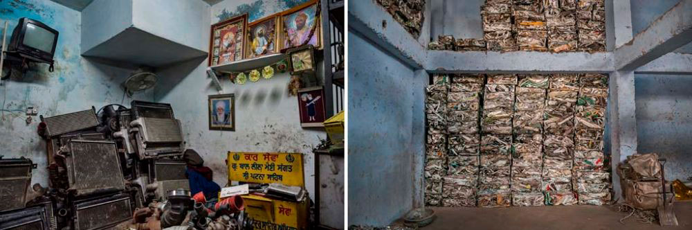 Image on Left - New Delhi, India: View of a basement of a shop. 29th January, 2016. Image on Right - New Delhi, India: Seen here are bales of waste compressed for transportation to furnaces. 3rd December, 2015.