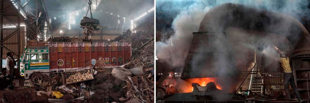 Image on Left – Baddi Industrial Area, India: Trucks of iron waste collected from across the country including the Mayapuri Scrap Market in Delhi is picked by magnets at a furnace in Baddi Industrial Area, Himachal Pradesh. 6th February, 2016. Image on Right - Baddi Industrial Area, India: Metal waste burns at temperatures of approximately 1640 degrees celcius at a furnace in Baddi. 6th February, 2016.