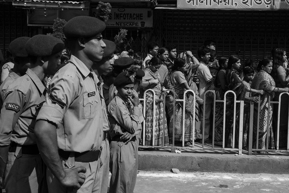 Howrah, India, February 2016, The NCC Cadets looking after the discipline of the processions