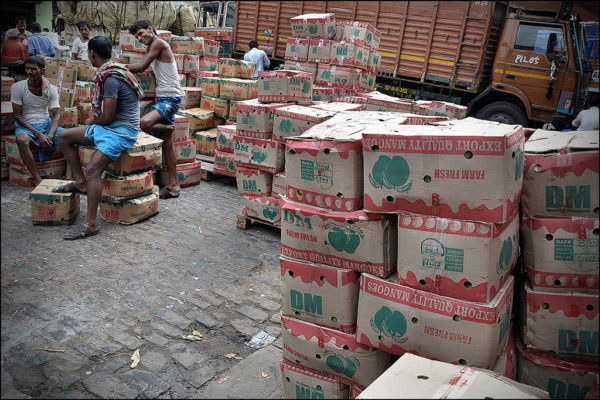 April-May 2015, Kolkata: Almost 50 trucks of mangoes carrying 15 tones each arrive Mechua every day.