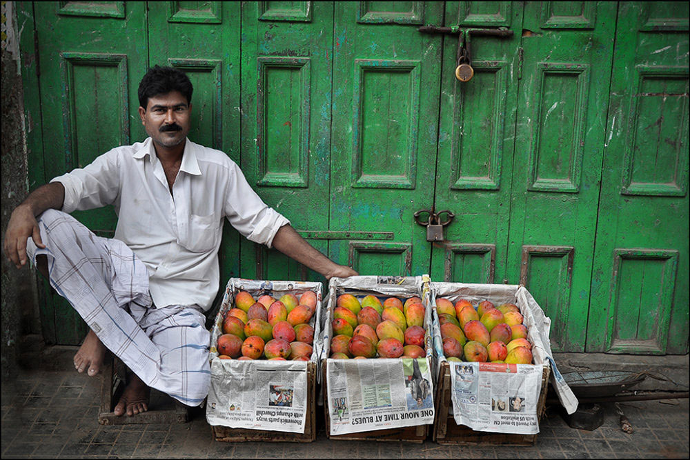 April-May 2015, Kolkata : A vendor with his pick for sale