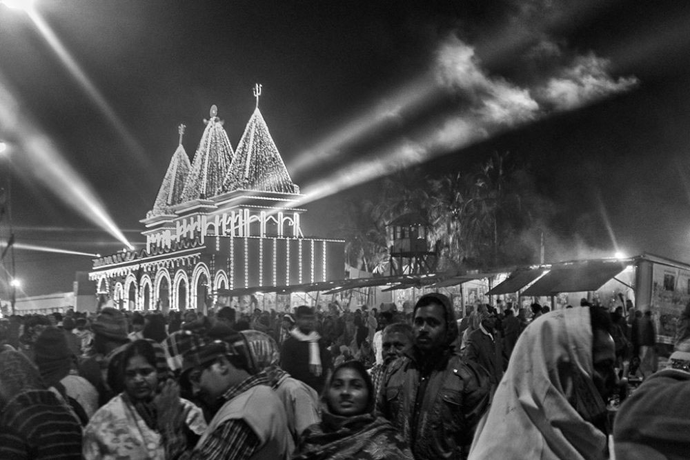 Gangasagar, West Bengal, 14th January'15 : A gathering infront of the Kapil Muni's ashram ( temple) .