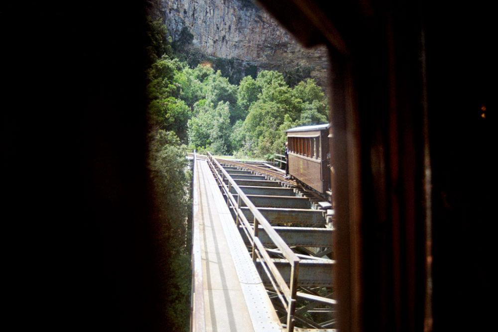 Passing of the iron bridge, Pelion, Greece, March 2015