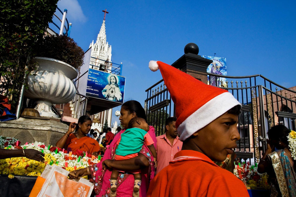 Bangalore, India - Dec 2014 - Crowd outside St. Mary's Basilica Church on the Christmas eve