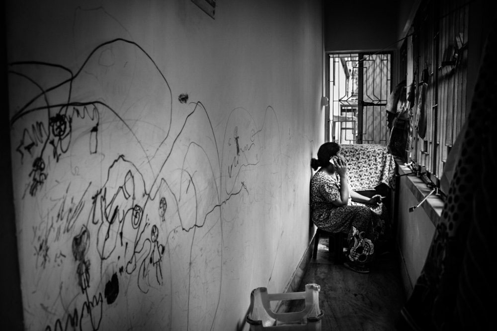 10. KOLKATA, INDIA - June 2016. Shreyasee was having with her male friend over phone; she has one of the very few options to get rid of loneliness.