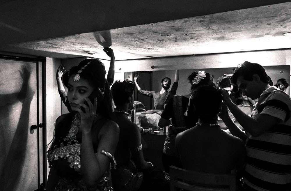 kolkata,India- September 11, 2016. practicing for the final time in the makeup room with other performers of the show
