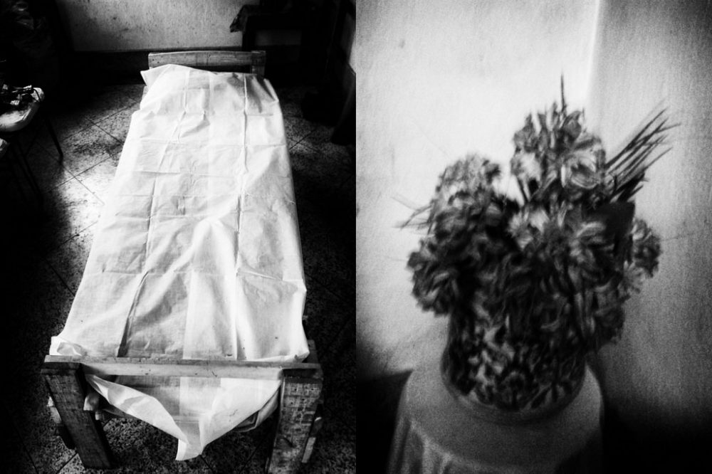 KOLKATA, INDIA - 2015; ending: The death bed that is generally prepared by using pine wood is used to take the body for cremation.
