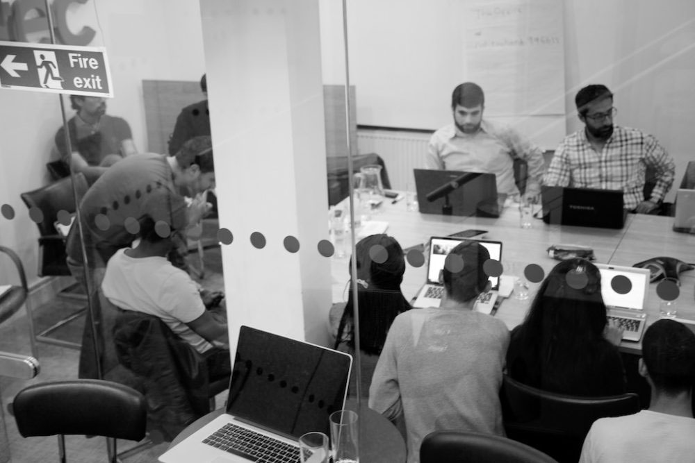 London, United Kingdom - 9 October 2016. A technology startup based in Old Street, London's Silicon Roundabout, lets the group use their offices every Sunday for free.