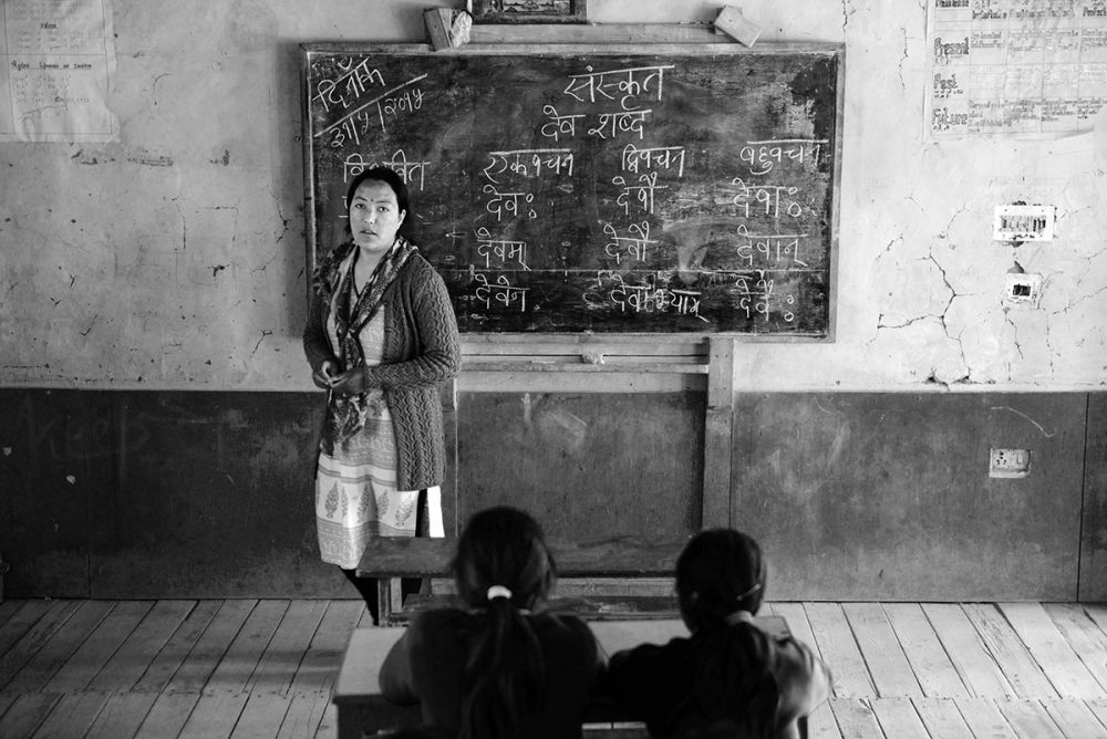 Tabo,Himachal Pradesh-June 2015.Sanskrit is being taught at Serkong School.
