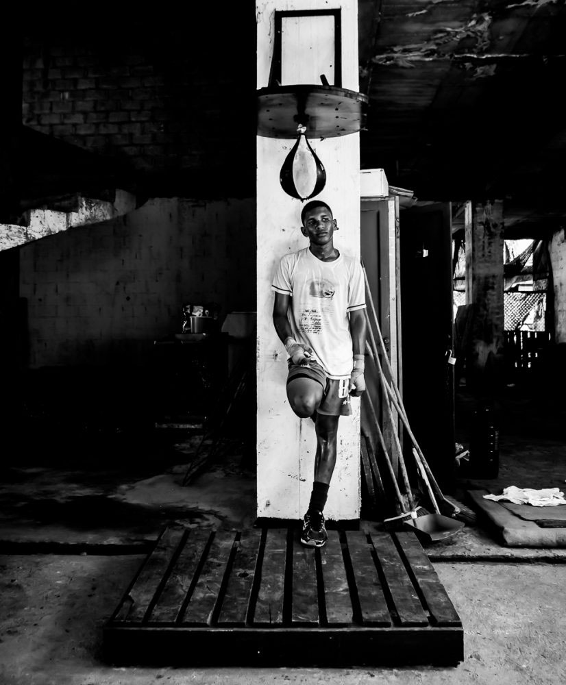 San Andrés, Colombia - July 2016. Here Neymar catches his breath after an intense session on the punching-bags. The gym has the effect of trapping heat in this already intense climate.