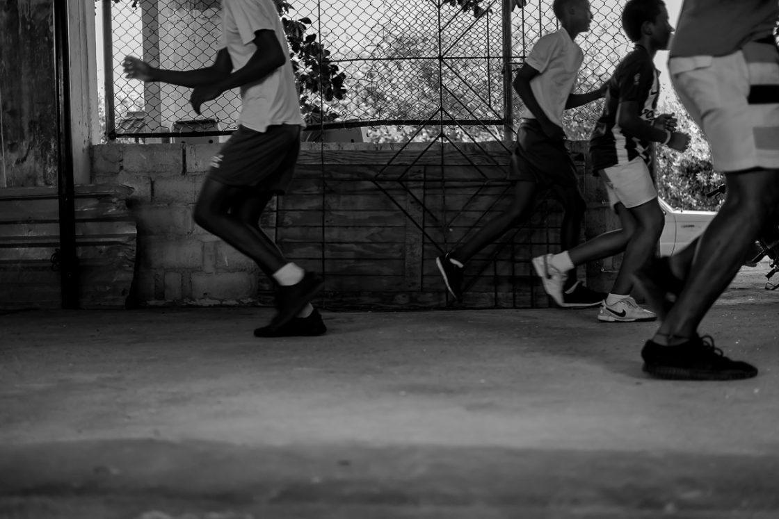 San Andrés, Colombia - October 2016. Going against the grain. Fitness is everything in boxing, so Nelson forces his students to undertake bleep-tests every afternoon.