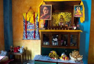 "Sikkim, India- December 2015. Lord Buddha's Photo and Idol and Buddhist religious head Dalai Lama's photo in a small worship place of a ""Lepcha"" house at Sehri Kopibari village, worshipper offered god sweet snacks ""Zeroo"", ""Kabje"", ""Paumulangcho"", made by new rice along with fruits."
