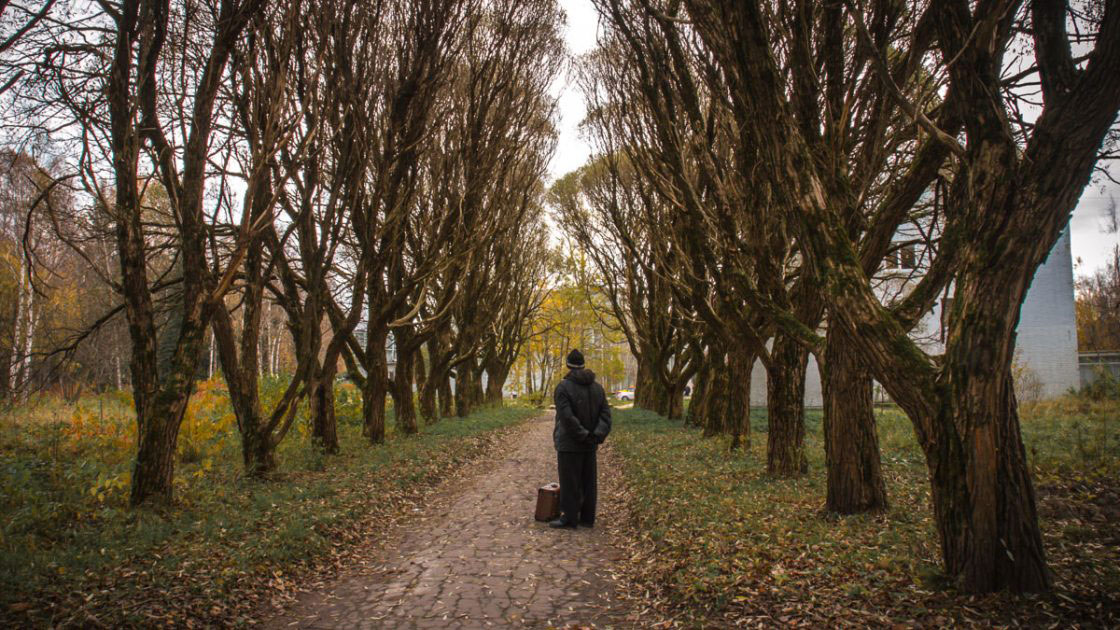 Repino, Russia, October 2016, Man in the alley