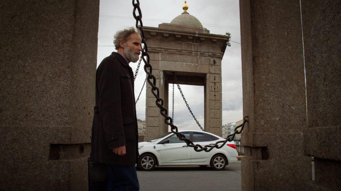 Saint-Petersburg, Russia, September 2016, Man crossing the bridge