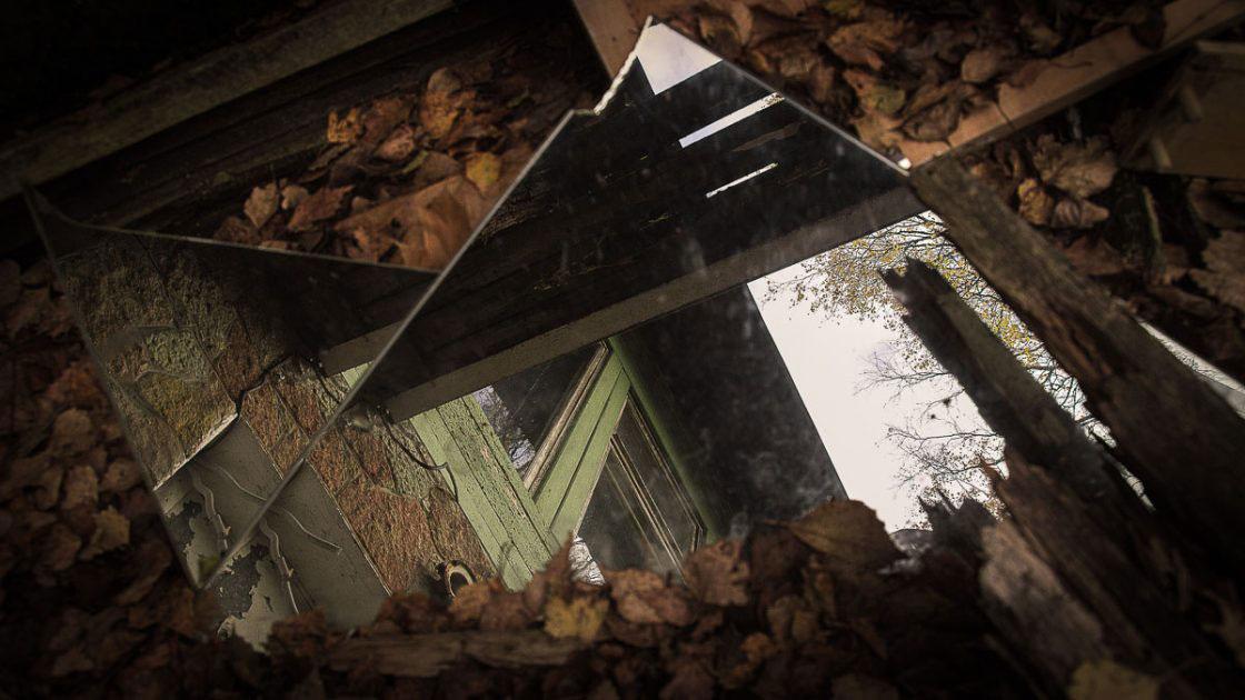 Repino, Russia, October 2016, Reflection in the broken mirror