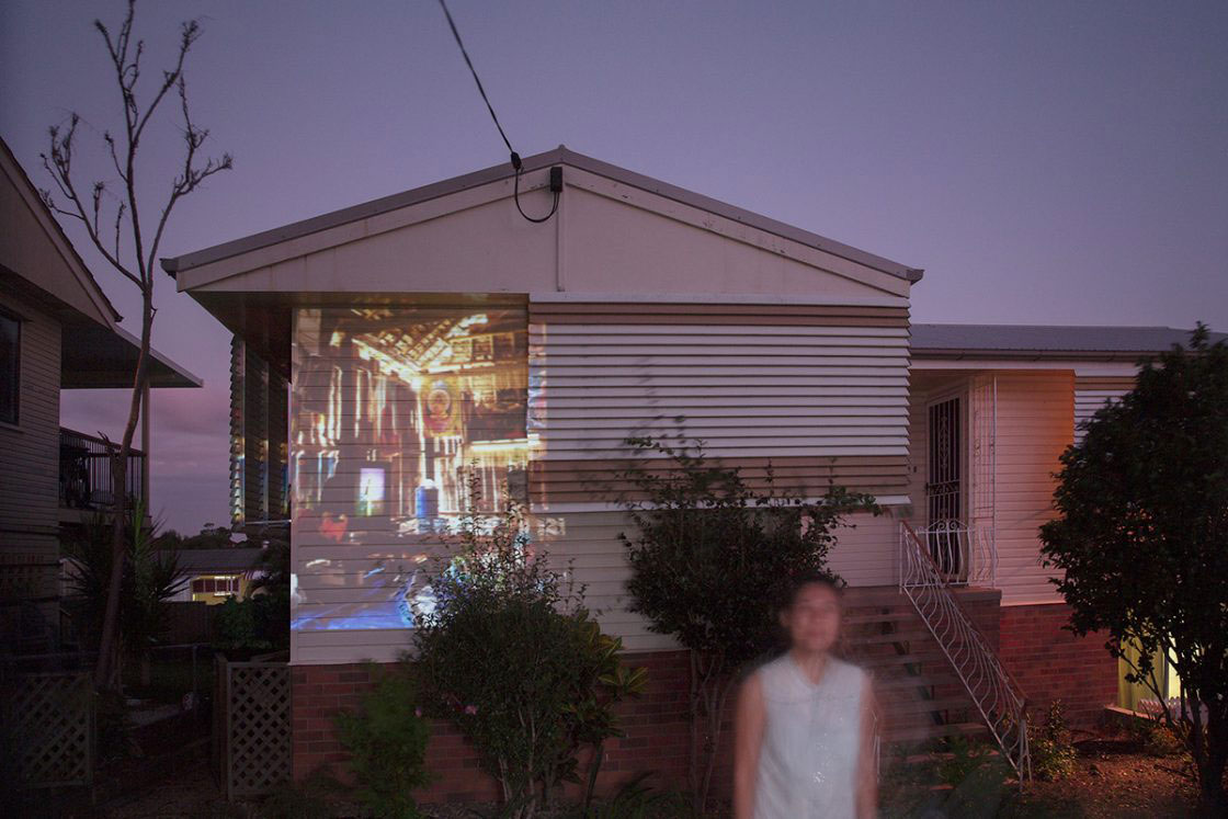 A projection of the inside of a house in Mae La refugee camp. This 'temporary' camp was established in 1984 and currently still holds over 50,000 refugees. This image has been projected onto the home of a well established Karen family now residing in Brisbane, Australia. BRISBANE, AUSTRALIA - April 2016.