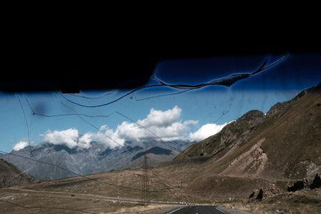 From the window of  a shattered Mashrutka taxi on the climb towards Kabegi on the Georgian Military highway