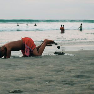 Bali, Indonesia - May, 2017. Swimming in the sand