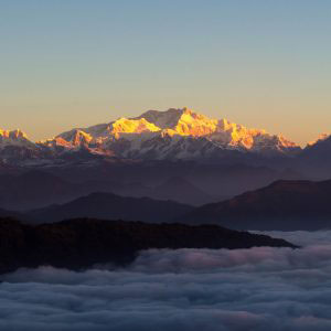 "The view of Kangchenjunga on clouds from Tumling, Nepal - February 2017. ""Kangchenjunga on acid"" from the center of the village."