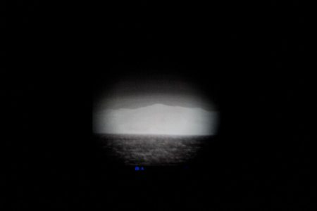 Mytilene, Agrilia Kratigou's beach, Lesvos, March 2017. The photograph shows the thermal image of the coast of Turkey, near Cesme. Thermal devices are used for the patrol and the identification of refugee boats that arrive clandestinely from Turkey.