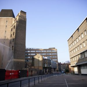 24/03/2012. Right across the London Fire Brigade Headquarter, is the disused rear block Fire Station (on the right of the picture). The building has been disused since 2008 and is currently squatted by 24 squatters.