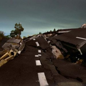 "<br />A devastated road close to the J village, in Iwaki area. Iwaki, considered by many to be a ""nuclear town,"" is the closest large city to the Fukushima Daiichi nuclear reactor. The bulk of the nuclear facility's workers lived in Iwaki, it is very common to hear from locals the positives of nuclear energy here, unlike the rest of the country."