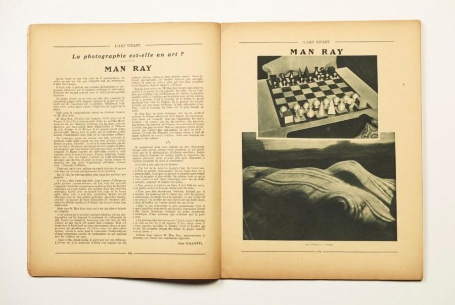Man Ray Jean Gallotti, La photographie est-elle un art? – Man Ray L'Art Vivant, Vol. 5, Nr. 103, April 1929, S. 282–283 ©  Man Ray Trust, Paris