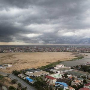 A panoramic shot of Boeung Kak lake taken on May 2011 shows the last section of water remaining. May 04, 2011. Phnom Penh, Cambodia