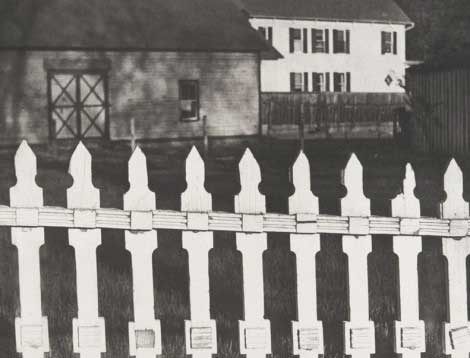 Paul Strand White Fence, Port Kent, New York, 1916 Gelatin-silver print, 24.5 × 32.5 cm  Philadelphia Museum of Art, The Paul Strand Retrospective Collection © Estate of Paul Strand