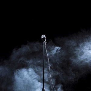 A view of a microphone and an empty stage in Tehran © Newsha Tavakolian for the Carmignac Foundation